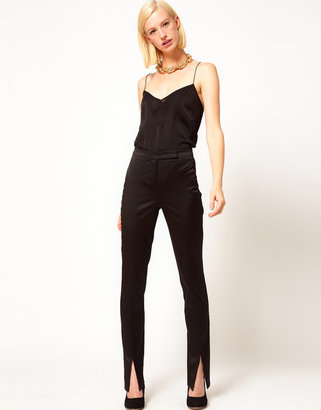 Asos Satin Trousers With Vent Front