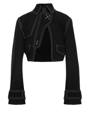Alexander Wang Cropped Cutaway Jacket With Contrast Topstitching