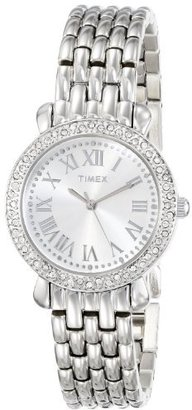 Timex Women's T2P2589J Crystal Silver-Tone Stainless Steel Bracelet Watch $74.95 thestylecure.com