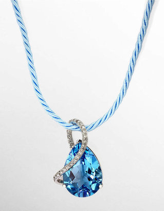 EFFY COLLECTION Blue Topaz Teardrop Pendant with Diamond Accents in White Gold