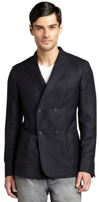 Z Zegna blue wool-linen 'Drop 8 Deco' two-button blazer