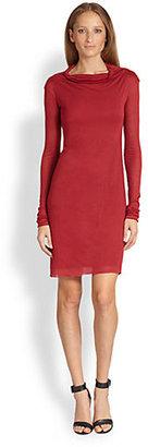 L'Agence Cowlneck Tissue-Knit Dress