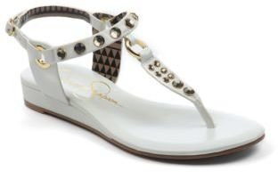 Jessica Simpson Juna T-Strap Wedge Sandals with Rhinestone Accents