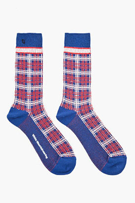 White Mountaineering Navy and red plaid Socks
