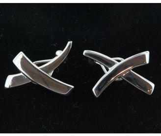Tiffany & Co. pristine (PR) Estate Designer Sterling Silver Elsa Peretti Cross Earrings