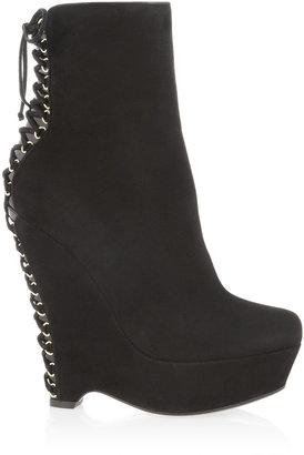 Yves Saint Laurent Madge laced-back suede wedge ankle boots