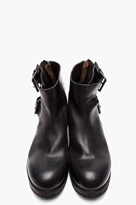 Marsèll Matte Black Leather Buckled Ankle Boots