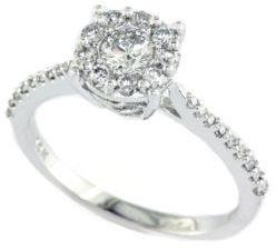 EFFY Bouquet 14 Kt. White Gold Diamond Cluster Ring