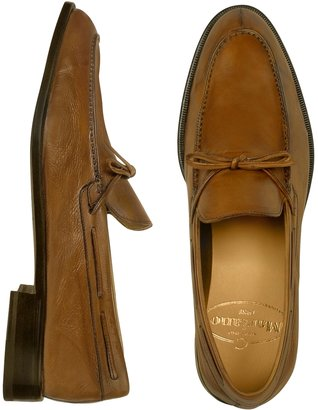 Mariano Napoli Brown Front Bow Italian Leather Moccasin Shoes