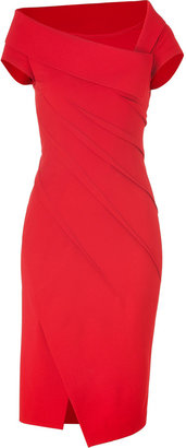Donna Karan Lipstick Red Sculpted Cap Sleeve Dress