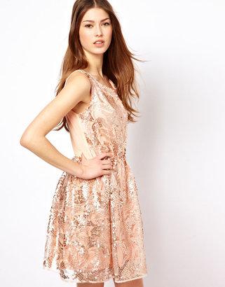 Pearl Sequin Skater Dress