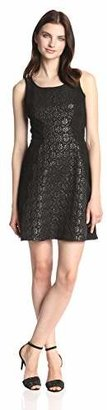 Jessica Simpson Women's Sleeveless Fit and Flare Lace Dress with Contrast Front