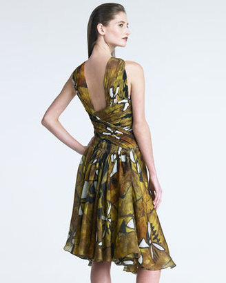 Donna Karan Printed Draped Bodice Dress
