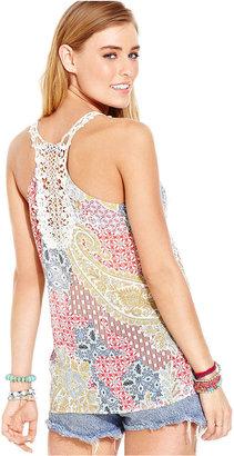 American Rag Juniors Top, Sleeveless Printed Crochet-Knit