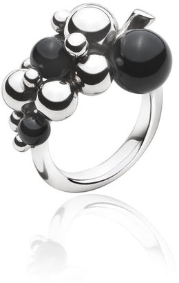 Georg Jensen Moonlight Grapes Ring Oxidised Sterling Silver With Black Onyx Small
