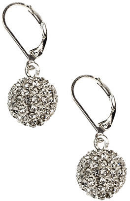 Anne Klein Silver-Tone Pave Crystal Ball Earrings