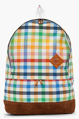 Thom Browne Green multicolor gingham check backpack