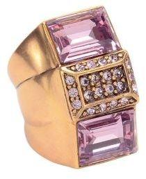 Oscar de la Renta Gold-Tone & Swarovski Stacked Ring
