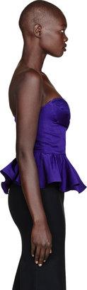 Alexander McQueen Royal Purple Silk Peplum Bustier