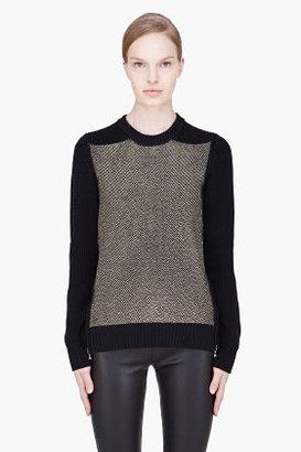 Proenza Schouler Black matallic Woven Side Zip Sweater
