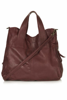 Topshop Slouchy leather hobo bag with zipped sides, internal pouch, zip pocket, double grab handle and detachable shoulder strap. h: 38cm, w: 40cm. 100% leather. specialist clean only..