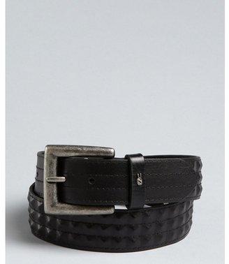 John Varvatos black leather pyramid studded belt