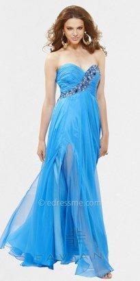 Faviana Strapless Beaded Pleated Bodice Evening Dresses