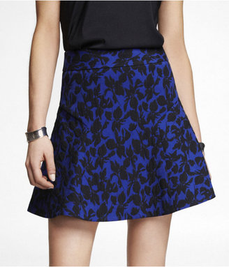 Express Floral Jacquard Fit And Flare Skirt