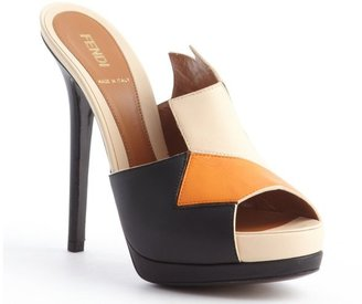 Fendi orange and beige and black leather colorblock pumps