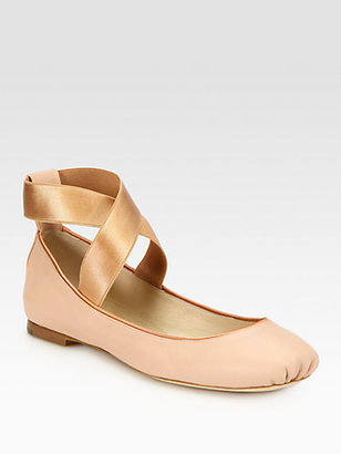 Chloé Crossover Leather Ballet Flats