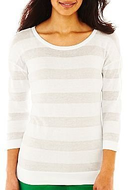 Liz Claiborne 3/4-Sleeve Shadow Striped Sweater