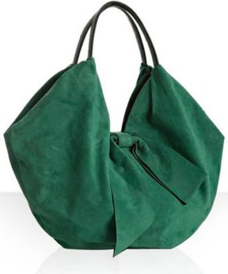 Valentino emerald suede bow detail oversized tote