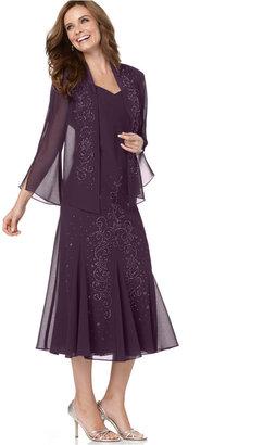 R & M Richards R&M Richards Sleeveless Beaded V-Neck Dress and Jacket