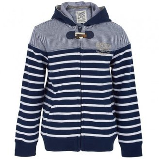 Mayoral Stripe Zip Hooded Sweatshirt