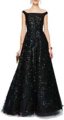 Oscar de la Renta Sequined Off-the-Shoulder Tulle Gown
