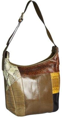 Chloé olive leather and snakeskin colorblock shoulder bag