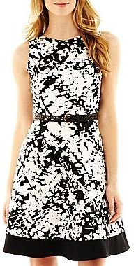 JCPenney Belted Fit-and-Flare Dress