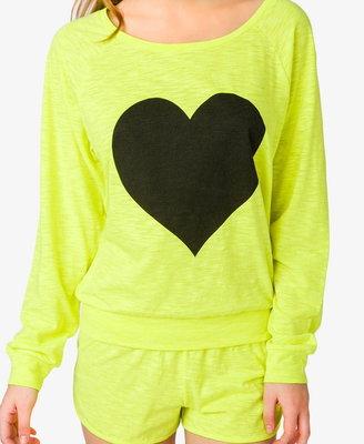 Forever 21 Slub Knit Heart PJ Set