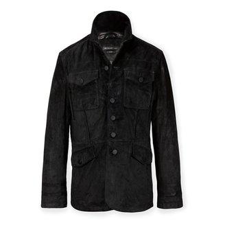 John Varvatos Men's Suede Officer Jacket - Black