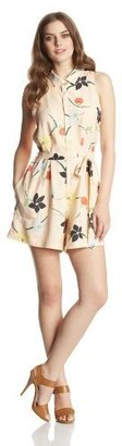 Steven Alan Women's Floral Print Silk Sleeveless Shirt Romper