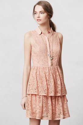 Anthropologie Tiered Lace Shirtdress