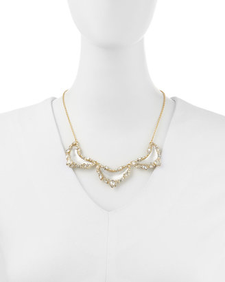 Alexis Bittar Jagged-Edge Crystal-Framed Lucite Small Bib Necklace, Gray/Blue