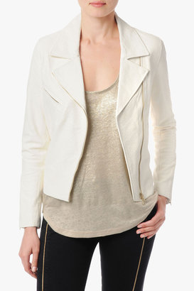 7 For All Mankind Embossed Snake Moto Jacket In Blanc