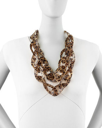 Kenneth Jay Lane Double-Strand Leopard-Print Enamel Necklace, Brown