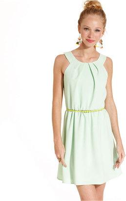 Amy Byer Juniors Dress, Sleeveless Belted A-Line