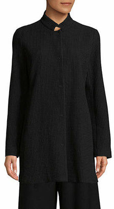 Eileen Fisher Stand Collar Organic Cotton Long Jacket