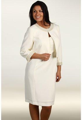 Tahari by Arthur S. Levine Plus Size Beaded Crepe Jacket Dress (Cloud) - Apparel