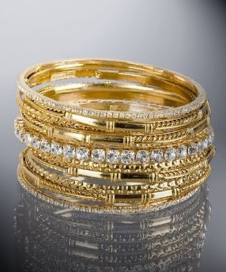 Amrita Singh set of 11 - gold brass and crystal multiple bangles
