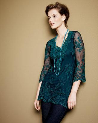 XCVI Maidenfair Mesh Embroidered Tunic, Women's