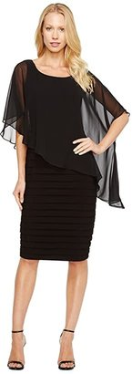 Adrianna Papell Chiffon Drape Overlay With Banding (Black) Women's Dress